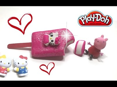 DIY Play-Doh Learn Make Pink Hello Kitty Popsicle Ice Cream Toy Soda