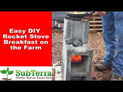 EASY DIY Concrete Cinder Block Rocket Stove and Breakfast on the Farm