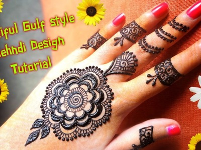 How to apply easy simple gulf dubai style henna mehndi design Tutorial for hands for eid,diwali 2017