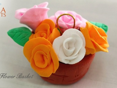 Making of Clay Flower Basket in English || Clay Modeling Flowers Tutorial || Kala Krafts