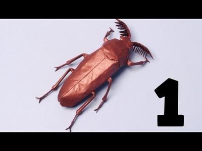 Origami Euthysanius Beetle Tutorial (Robert J Lang) Part 1 - Precreasing
