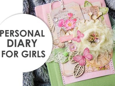 Personal diary for girls. Romantic gift. Handmade journal. Fabric notebook