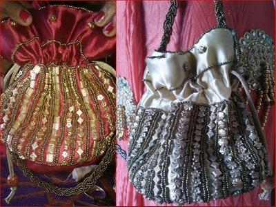 Princess potli perals pouch bag cutting and stitching DIY राजकुमारी थैली काटने और कढ़ाई सिलाई