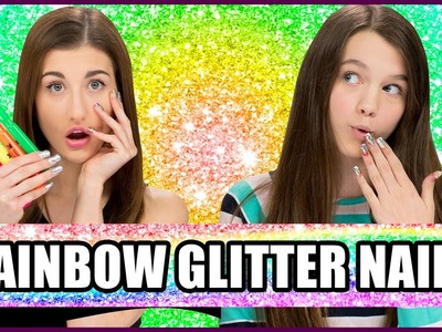 Rainbow Glitter Nail Art using HIGHLIGHTERS? - Makeup Mythbusters w. Maybaby and Chloe East