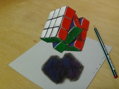 3D Drawing Floating Rubik's Cube - How to Draw 3D Rubik's Cube - Trick Art on Paper
