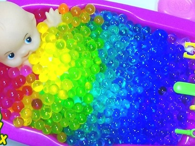 Baby Doll Bath Time Nursery Rhymes Song  DIY Colors Orbeez m&m for kids