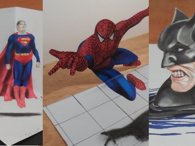 Drawing 3D Heroes - Amazing 3D Batman, Spiderman & Superman - Trick Art on Paper