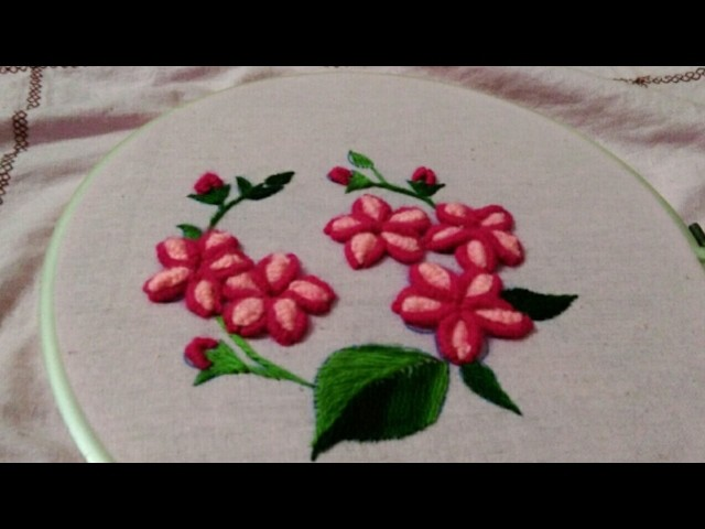 Hand Embroidery Flower And Leaves With Beautiful And Easy Basic Stitches