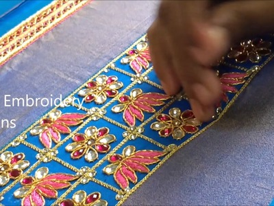 Hand embroidery stitches tutorial | hand embroidery designs, easy maggam work,zardosi work