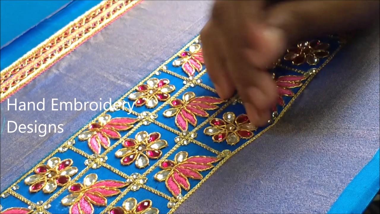 Hand embroidery stitches tutorial | hand embroidery designs, easy maggam work,zardosi work