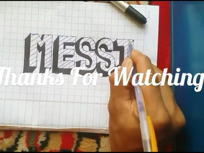 How to draw a 3D art about the word MESSI - Drawing Styles, 3D drawing