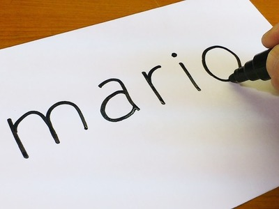 How to turn words MARIO into a Cartoon - Doodle art on paper for kids