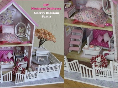 Miniature Dollhouse DIY Pink Cherry Blossom Doll House Kit (Part 2)