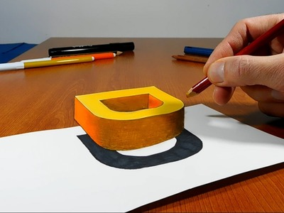 Try to do 3D Trick Art on Paper, floating letter D