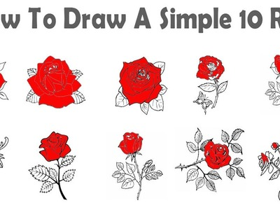 10 Easy Rose drawing tutorial, ???? How to Draw a Rose, ???? How to draw rose Step by Step tutorial