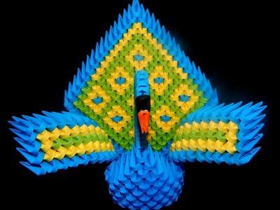 3D Origami  peacock tutorial   DIY paper craft peacock