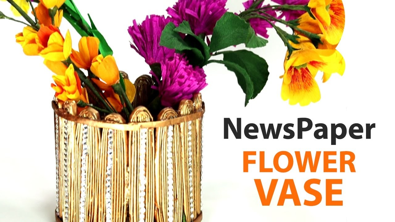 Best Out Of Waste Craft How To Make Flower Vase With Newspaper My