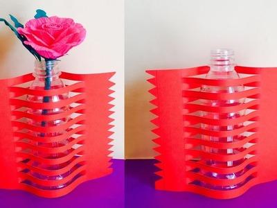 Best out of waste - Newspaper Flower vase making | Arts and craft paper flower vase craft