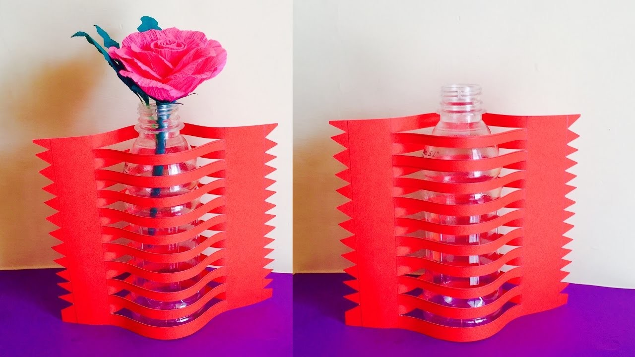 Best out of waste newspaper flower vase making arts and for Best out of waste with paper