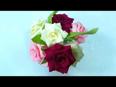 DIY - Craft tutorial How to make simple Roses by crepe paper - Làm hoa hồng giấy đơn giản nhất