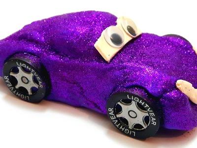 DIY Glitter Play Doh Lightning Mcqueen How to Make Glitter Cars Lightning Mcqueen Color Glitter Car