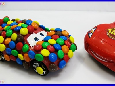 DIY How To Make Disney Cars Lightning McQueen with Candies M&M's New Movies GIANT Dinosaur Attacks