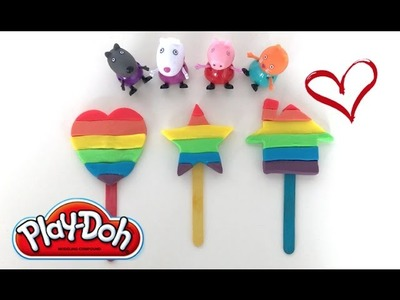 DIY Play-Doh Learn Make Rainbow Candy Heart Star House Shape Toy Soda