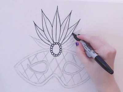 EASY How To Draw A Mardi Gras Mask (Part 1) -- iCanHazDraw!