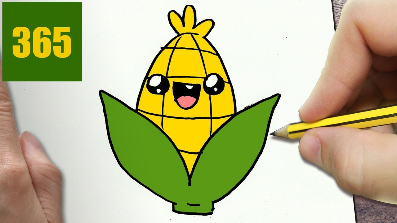 How To Draw A Corn Cute Easy Step By Step Drawing Lessons For Kids