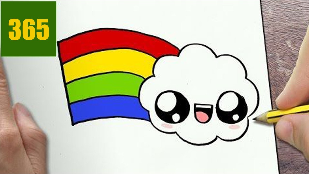 HOW TO DRAW A RAINBOW CUTE, Easy step by step drawing ...