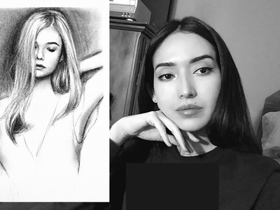 How to draw blonde hair using charcoal. Easy tutorial. Beginners.