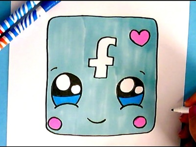 HOW TO DRAW FACEBOOK ICON CUTE - EASY DRAWING STEP BY STEP