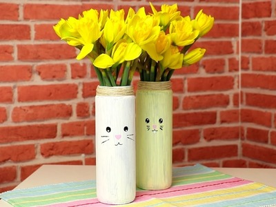Quick, cute DIY Easter bunny vases