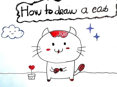 Teaching Kid to draw  - How to Draw a cat - Easy step by step
