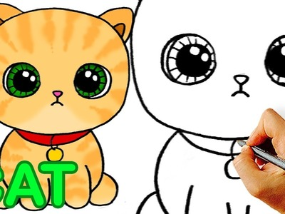 Very Easy! How to Draw Cute Cartoon Cat. Easy Art for Kids!