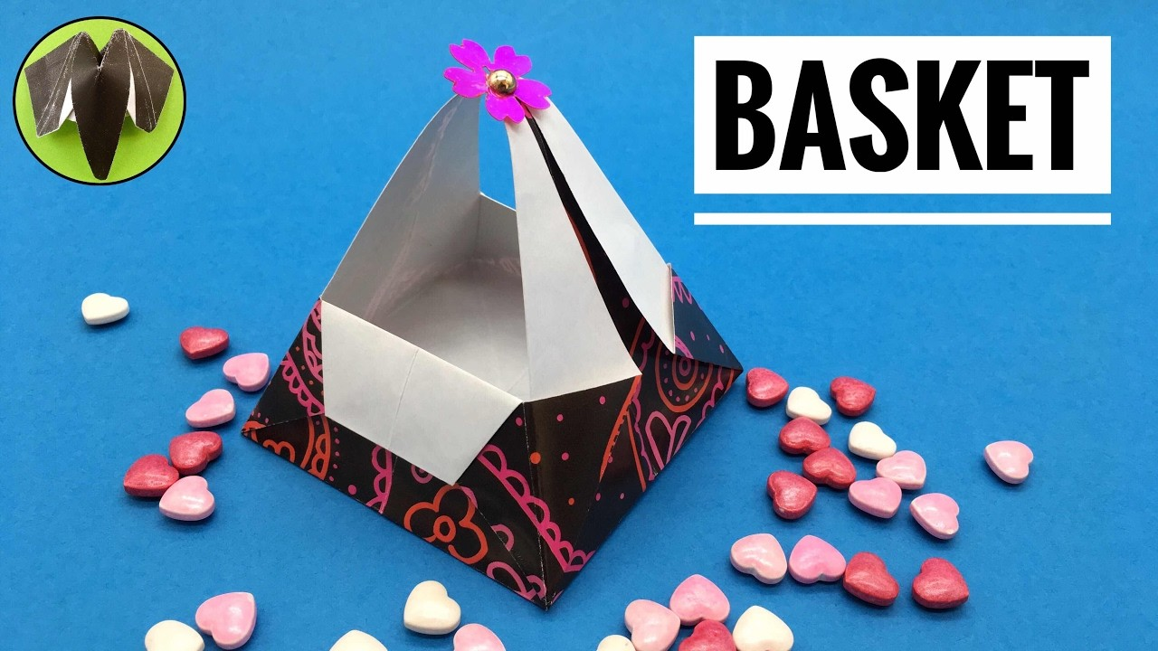 Basket with Handle for Easter - DIY Origami Tutorial by Paper Folds.