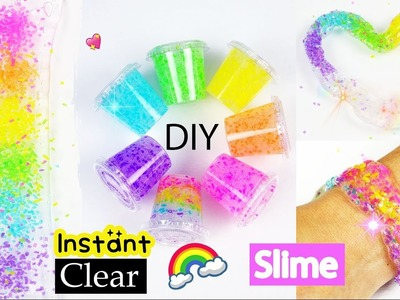 Best DIY Rainbow Slime recipe without Coloring.How to Make Instant Clear Slime