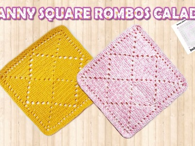 Como tejer Granny rombos calados a crochet  para mantas - How to crochet  Granny Diamonds blankets