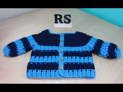 Crochet  boy sweater 6 to 12 months for beginners