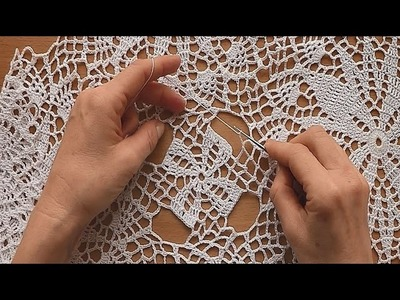 CROCHET How to join motifs  for tablecloth Part 6