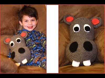 Crochet Tutorial: Happy Hubert the Hippo Pillow