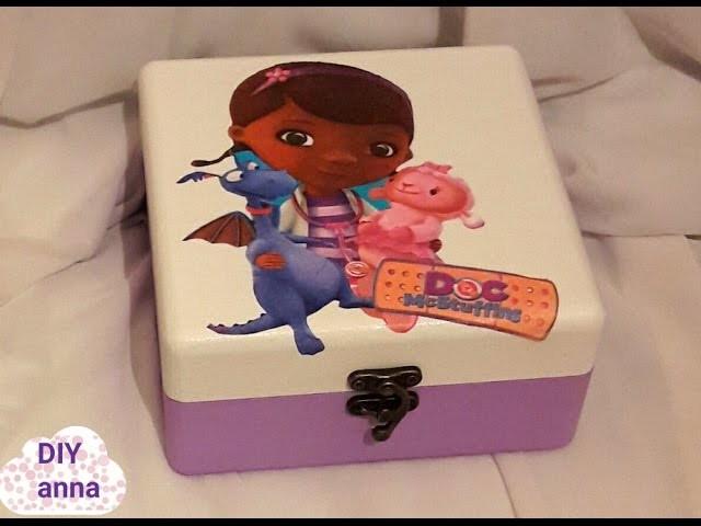 Decoupage box for beginners - doc mcStuffins DIY  ideas decorations crafts tutorial