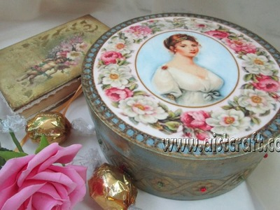 Decoupage tutorial - DIY.  How to Use Decoupage Paper. Vintage gift box. Decoupage ideas.