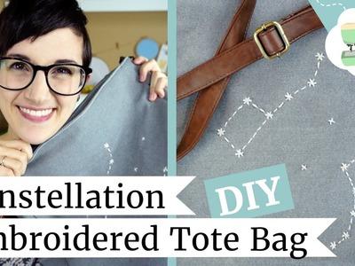 DIY Constellation Tote - Make a Galaxy Embroidery Bag! | @laurenfairwx