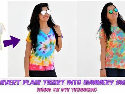 DIY: Convert Plain T shirt Into Summery colorful ones(Using Tie dye Technique)