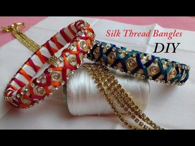 DIY || criss cross zig zag silk thread bangles || how to make designer silk thread bridal bangles