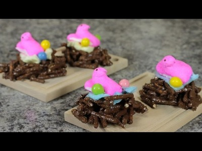 DIY Easter Recipe - Bird's Nest Made of Chocolate Covered Pretzels - Food Art For Kids Tutorial