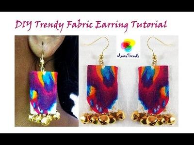 DIY Easy Fabric Earring. Textile Jewelry. Urban Tribal Jewelry Tutorial by Anira Trendz Manju