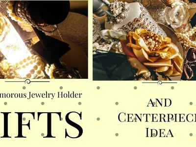 DIY Glamorous Dollar Tree Centerpiece| Two-Tier Jewelry Holderl Gifts| Home Decor