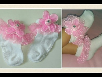 DIY. How to make baby girl Lace.Ruffle socks using stuff from old clothes.